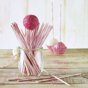 Lolli-Sticks | Rosa-Gestreift