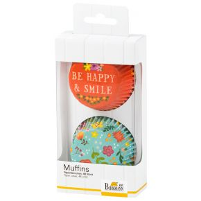Muffin-Papierförmchen | Be Happy & Smile, Blumen